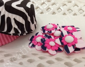 PINK EDIBLE FLOWERS - Hot Pink fondant with zebra edible image ontop. Great for cupcakes, cookies, cakepops and cakes - Birthdays and more