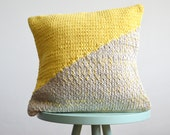 hand knitted cushion, grey with yellow No.3