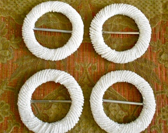 White Beaded Buckles