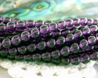 4mm Druks, Czech Glass Druks, Round Glass Beads, Purple Tanzanite Beads, Beads, Druk Beads CZ-238