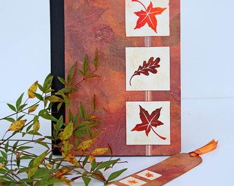Autumn Leaves Journal with Matching Bookmark, Handmade Notebook in Fall Colors, Altered Composition Book with Lined Pages