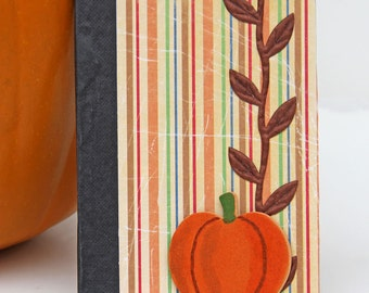 Striped Mini Journal with Pumpkin, Handmade Pocket Notebook, Altered Composition Book, Personal Diary in Fall Colors, Gift for Writers
