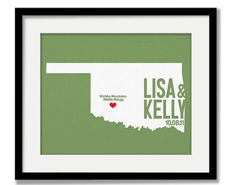 Oklahoma Wedding Gift - Personalized State and Heart - Custom Wedding Date - Location City and State Modern Art Print - 8x10