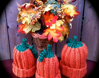 Pumpkin Hats for all Ages Newborns to Adult Sizes -  Great  Photo Prop-  Family Pumpkin Picking Hats for Fall Season