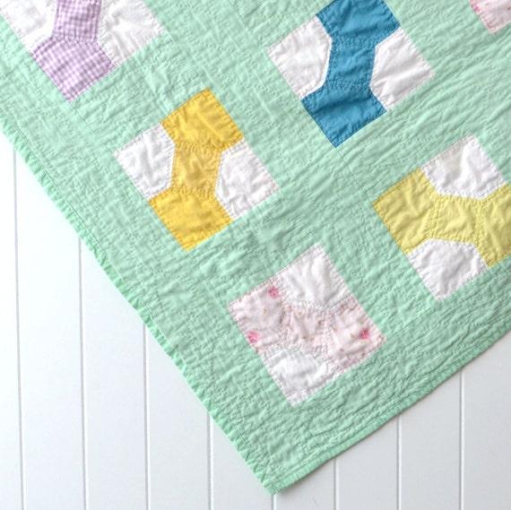 Vintage Baby Quilt Bow Tie Pattern Gender Neutral