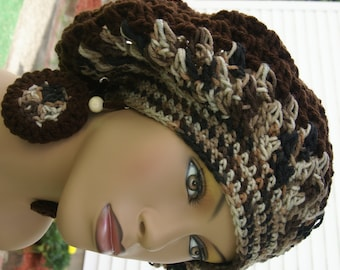 Crochet Tam with Matching Earrings -Snickers Made To Order
