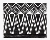 Geometric Diamond Pattern - Geometric Print - Home Decor - Wall Art - Linocut Block Print - Original or Digital Print