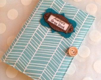 Photo Album Brag Book Personalized - Aqua Herringbone Fabric