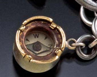 """Vintage compass with sterling silver chain """"Not All Who Wander Are Lost"""""""