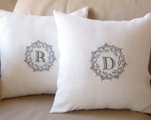 Set of 2 - Personalized Embroidered Accent Pillow Cover  - Neutral Elegance - 100% Linen Bridal Shower Anniversary Wedding Housewarming Gift