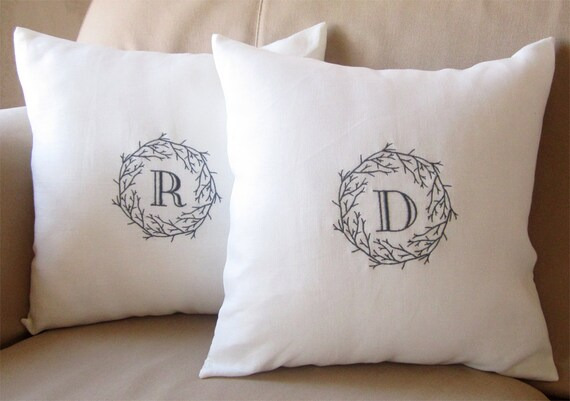 Mother's Day Gift - Set of 2 - Personalized Embroidered Pillow Cover  - Neutral Elegance - 100% Linen Anniversary Wedding Housewarming Gift