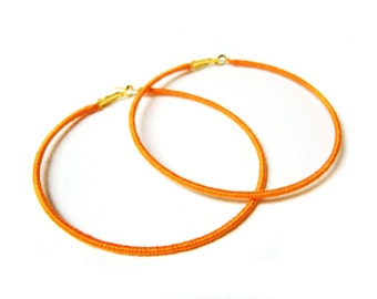 Orange Hoop Earrings, Large Hoops, Thread Wrapped Earrings, Lever Back Earring, Fashion Jewellery UK