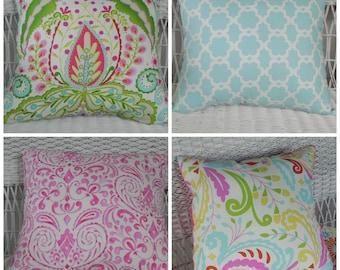 """Accent Pillow -  Kumari Garden Fabrics - Large Pillow 17"""" x 17""""  - Choose your fabrics  Ships in  2-3 weeks"""