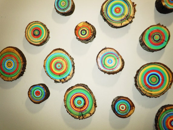 25 Painted Wood Slices Tree Art Tree Branch Slices Abstract