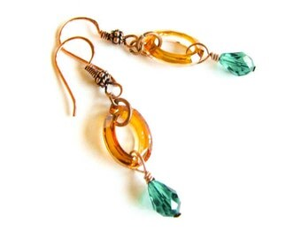Emerald Copper Earrings Copper and Crystal