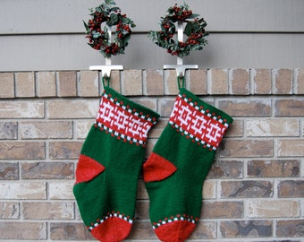 Christmas Stocking - knitted stocking - red and green stocking with geometric pattern