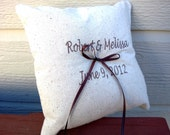 Personalized Linen Ring Bearer Pillow, Ring Pillow, Simple Pillow, Customized Ring Pillow, Outdoor Wedding, Rustic Wedding, Keepsake