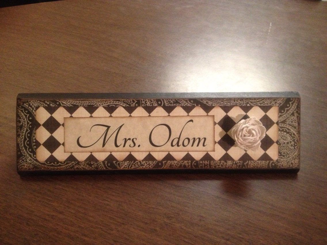 Wooden Desk Name Plates ~ Unique wooden office desk name plate plaque by shelleeodom