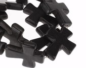 Black Cross Beads 37x31mm - 3pcs -  Ships IMMEDIATELY  from California - B1038