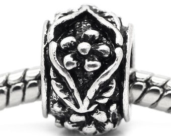 European Charm Beads -  Antique Silver - Carved Flower Column - 12x12mm - 5pcs - Ships IMMEDIATELY from California - B867