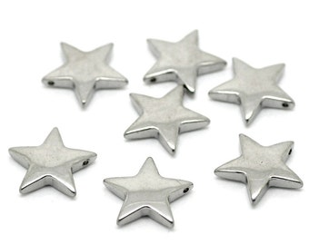Silver Star Charms Stainless Steel - 14x13mm - 3pcs - Ships IMMEDIATELY from California - SC846