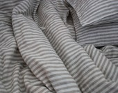 Pair of Natural Linen Pillowcases Shams King Natural and Ivory stripes Stonewashed Handmade Eco