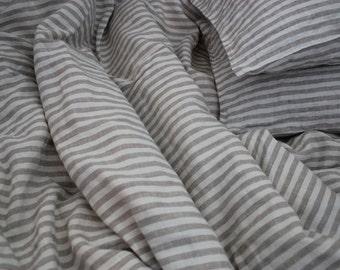 Pair of Natural Linen Pillowcases Shams Natural and Ivory stripes Stonewashed Handmade Eco