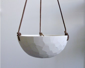 Hanging Ceramic Porcelain Planter with Leather Cord Size Large, Geometric Faceted finish