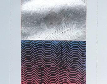 Geometric Abstract Monoprint, 11x7.5 Silver, Blue & Pink  NY131409