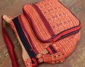 Red Tribal Ethnic Naga Embroidered Cross Body Messenger Bag Tote Man Bag