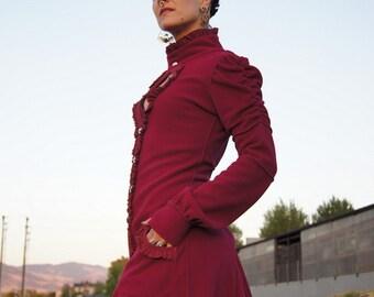 "Boho Coat, Full length Key Coat with pockets and detachable hood in ""Deep Pink"""