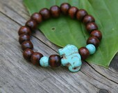 GOOD KARMA SPECIAL! Yogi inspired wood bead mala bracelet with turquoise colored elephant gemstone for men or women