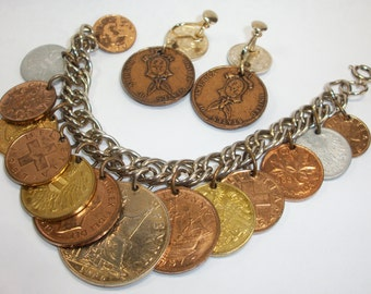 Money bracelet and earrings coins from various countries vintage