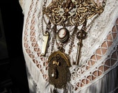 Antique Chatelaine Coin Purse, Brass Key, Vintage Pocket Knife, Cameo Locket, Pocket Watch, Brass Necklace