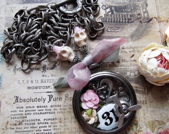 Clock Casing, Propeller, Numbers, Gears, Roses, Skulls & Bow Necklace