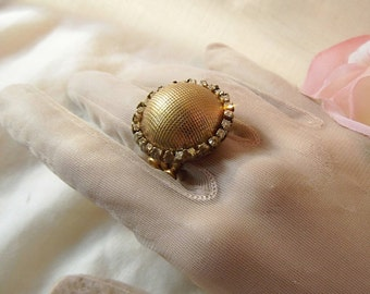 Vintage Button with Rhinestone Chain Adjustable Brass Ring