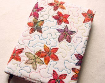 Stitched Journal / Notebook Cover, Rainbow Flowers