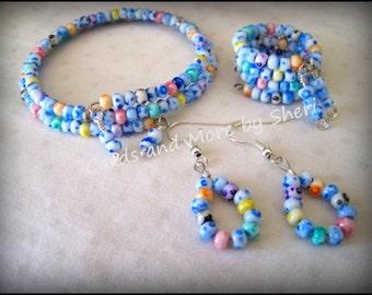 Hand Made Beaded Bracelet, Ring and Earring Set