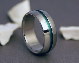 Green Titanium Ring, Mens Titanium Ring, Womens Ring, Domed Profile Ring, Titanium Band, Mens Wedding Band, Engagement Ring, Promise Ring