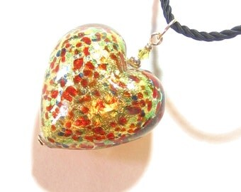 Murano Glass Gold Colorful Heart Pendant, Venetian Glass Necklace, Italian Jewelry