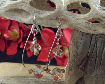 Beautiful Golden Shadow w/Copper accent Swarovski Crystals on Silver Teardrop Loop Earrings  SALE!