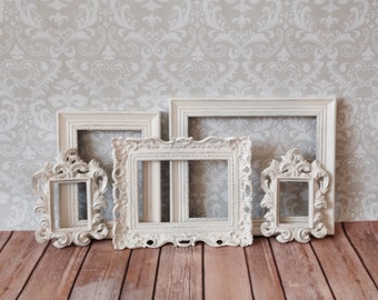 Vintage Style Small PICTURE FRAMES - Shabby Chic Wedding - Nursery - Home - w/ Glass N Backing
