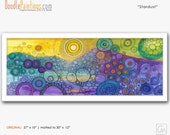 DoodlePainting ORIGINAL 27x10 Abstract Circles Landscape Watercolor in Mat: Stardust
