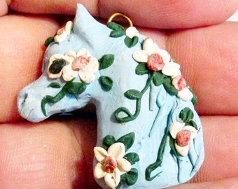 ADORABLE Polymer clay horse pendant with flowers