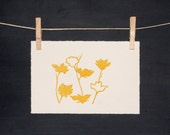 Yellow Spring Flowers - PRINT - Hand Pulled Linocut