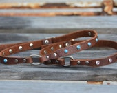 Adjustable Leather Dog Collar Safety Necklace with Turquoise or Crystal Rivets Rustic Boho Southwestern Western Dog Collar Necklace