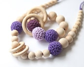 Set of 2. Natural nursing rings necklace and teething ring toy.