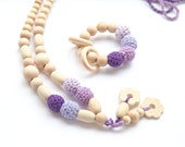 Violet colors set of 2. Teething ring toy and nursing necklace. Light lilac, lavender, violet rattle for baby and mom.