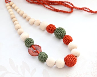 Terracotta and dark green crochet necklace with natural gem stone, ready to ship