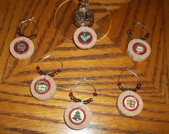 "6 pc. ""Christmas Traditions"" Cork Wine Charm Set"